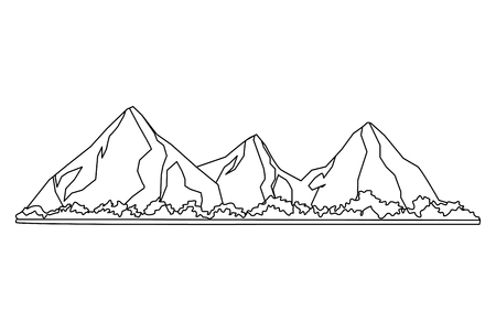 Tropical beach mountain line beautiful natural landscape black and white vector illustration graphic design Иллюстрация