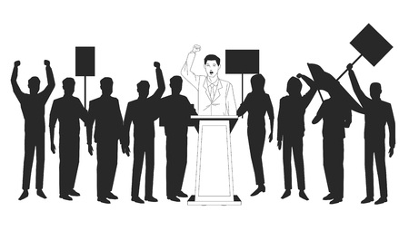 man making a speech and audience silhouette avatar cartoon character vector illustration graphic design Ilustração