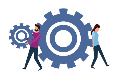 Coworkers pushing a pulling gear teamwork cartoon vector illustration graphic design