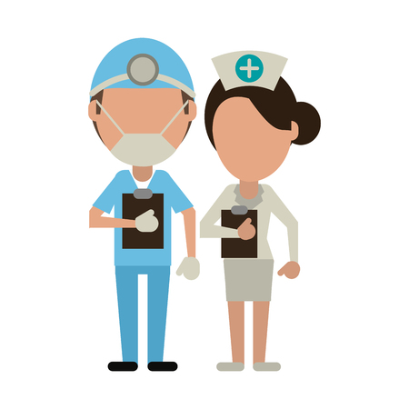 Medical teamwork avatar surgeon and nurse faceless vector illustration graphic design