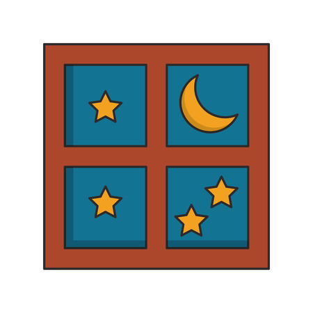 Night moon and stars through window cartoon vector illustration graphic design