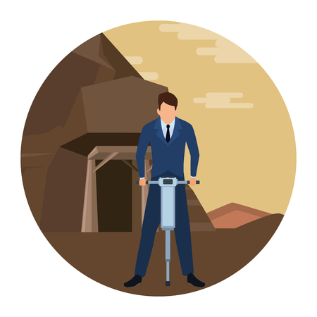 businessman working with drill  in the mine round icon vector illustration graphic design 向量圖像