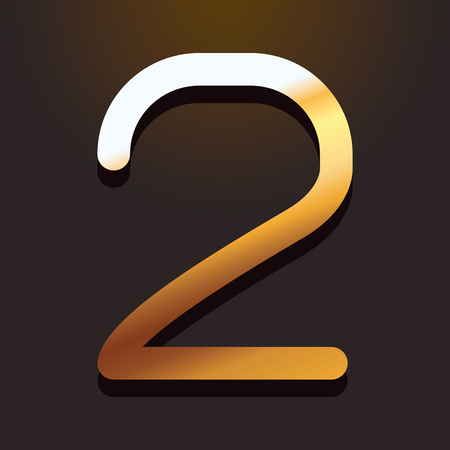 two number gold metallic font with shadow over dark background vector illustration