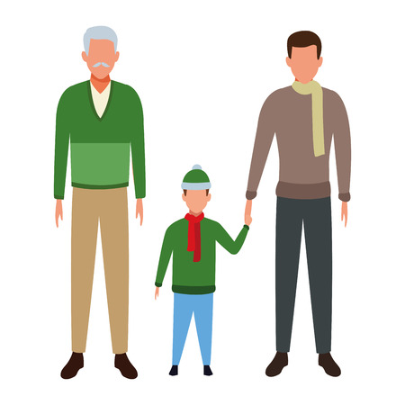 family avatar cartoon character wearing winter clothes grandparents man child vector illustration graphic design
