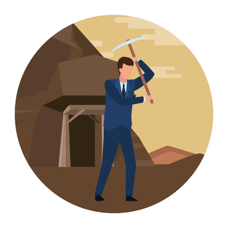 businessman holding pickaxe  in the mine round icon vector illustration graphic design 向量圖像