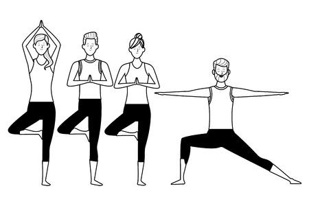 people yoga poses avatars cartoon character bun beard black and white isolated vector illustration graphic design