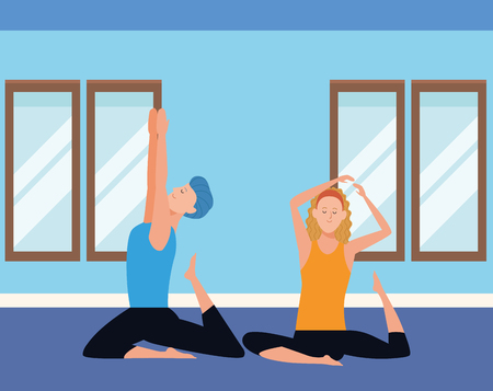 couple yoga poses avatars cartoon character headband indoor in the gym vector illustration graphic design