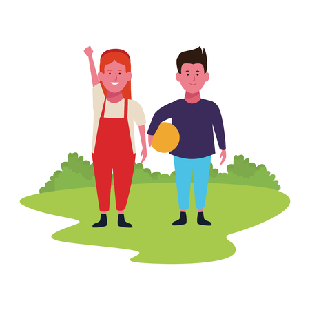Two kidsboy and girl with ball smiling cartoons in the park outdoors scenery vector illustration graphicdesign
