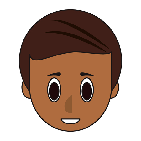Young man face head cartoon vector illustration graphic design