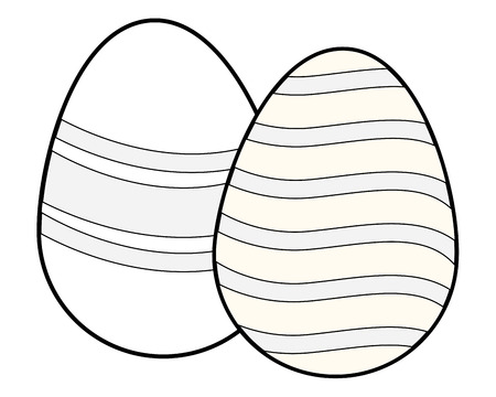 Easter eggs colorful painted wavy line pattern artistic black and white vector illustration graphic design