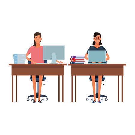 women in a office desk with computer documents and books vector illustration graphic design Иллюстрация