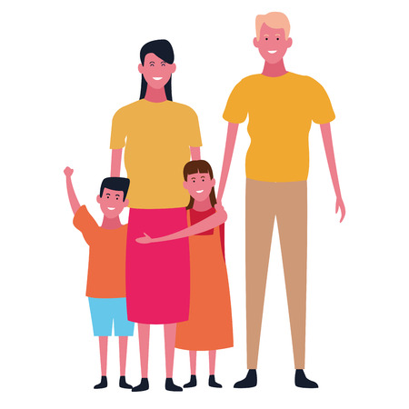 Family father and mother with daughter and son vector illustration graphic design 向量圖像