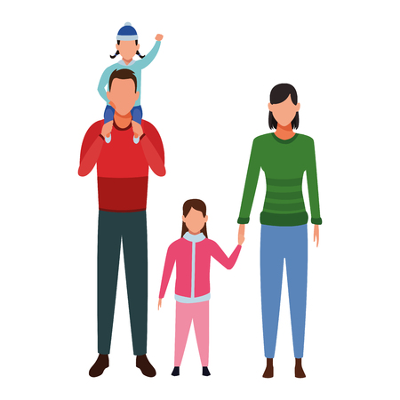 family avatar cartoon character parents and children wearing winter clothes vector illustration graphic design Illustration