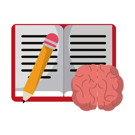 Book and pencil with brain cartoon vector illustration graphic design 向量圖像