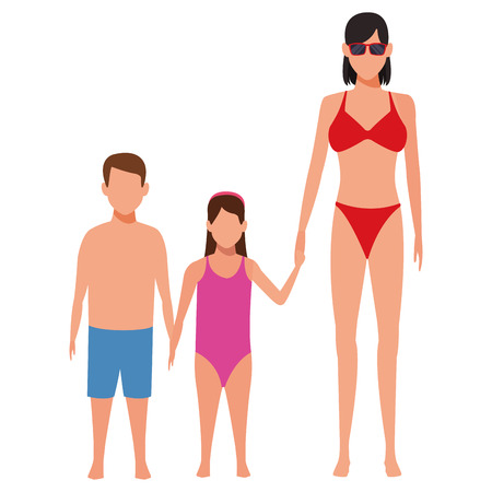woman and children avatar wearing summer clothes sunglasses vector illustration graphic design Stock Illustratie