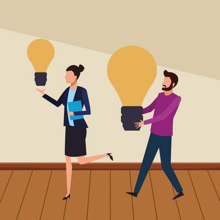 Coworkers businesswoman and man with big bulb lights teamwork cartoon on wooden floor vector illustration graphic design Stock Illustratie