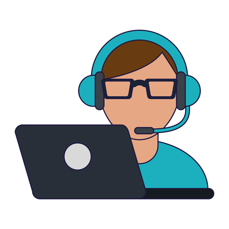 Agent de centre d'appels avec des symboles de service client vector illustration graphic design Vecteurs