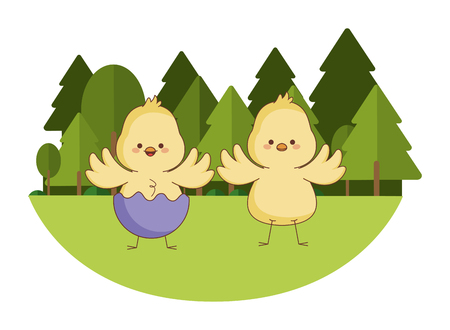 Happy farm animals chicks pair wearing eggshell easter season drawing  on grass with trees scenery vector illustration graphic design Ilustração