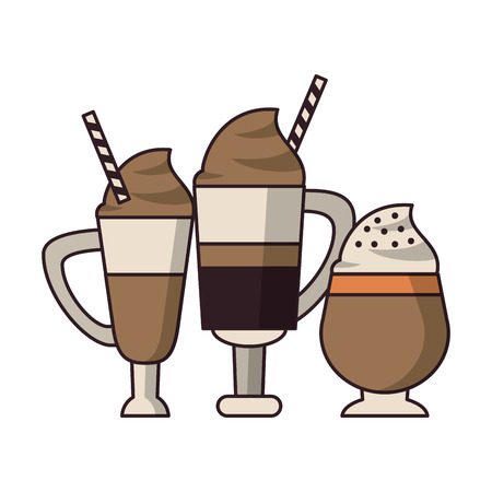 coffee cafe concept coffee shop elements ice drinks tall glass lattes with cream cartoon vector illustration graphic design