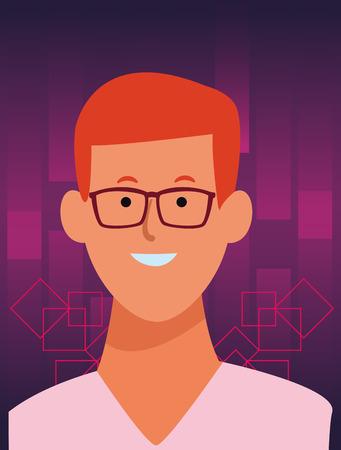 man portrait cartoon avatar wearing glasses  over digital purple background frame vector illustration garphic design Ilustração