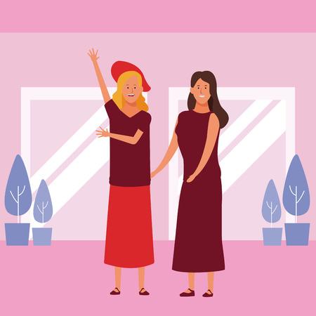 women avatar cartoon character wearing skirt hat and dress  vector illustration garphic design Vectores