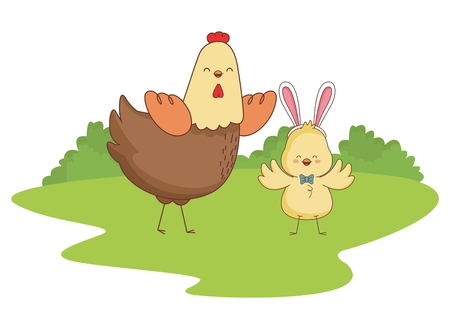 Happy farm animals hen and chick easter season drawing  on grass with trees round icon scenery vector illustration graphic design Ilustração