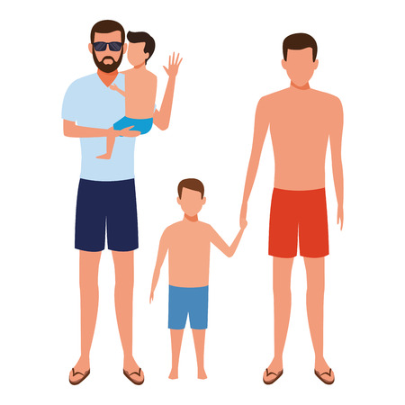 men with children wearing summer clothes and sunglasses vector illustration graphic design Stock Illustratie
