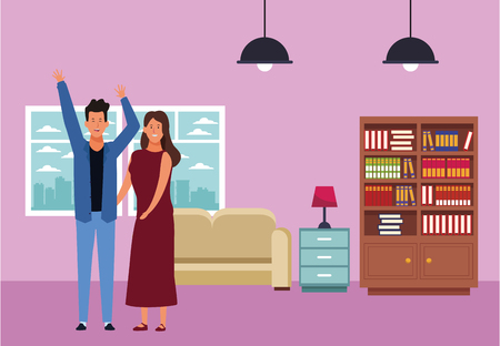 couple avatar cartoon character hands up wearing casual clothes and dress  inside home apartment vector illustration garphic design Çizim