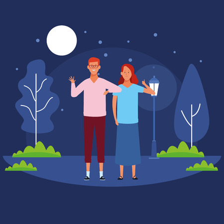 couple avatar cartoon character thumbs up wearing glasses and casual clothes  in the park at night scenery vector illustration garphic design