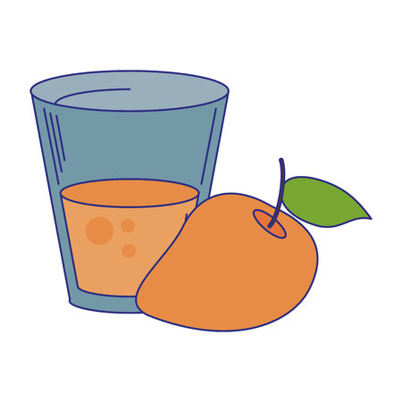 Peach juice cup with fruit vector illustration graphic design