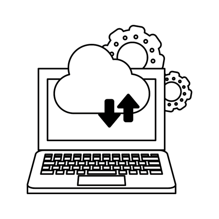 computer with cloud tranfer symbol and gears icon cartoon vector illustration graphic design black and white