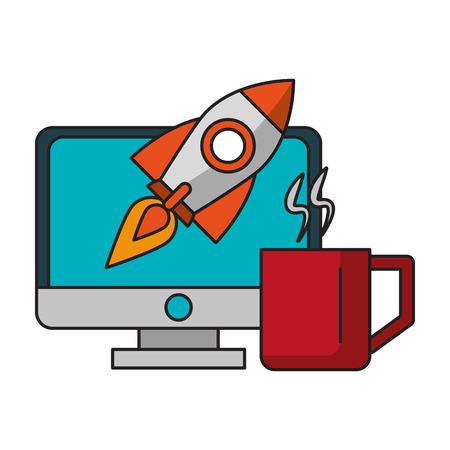 technology device computer screen working success idea cartoon vector illustration graphic design Illustration