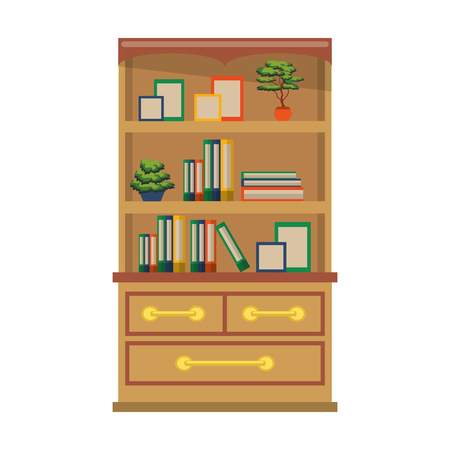furniture concept library cartoon vector illustration graphic design