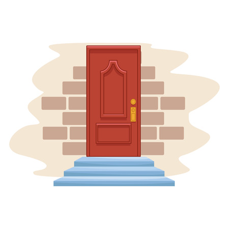 Dibujos animados de icono de puerta aislado en una pared de ladrillos diseño gráfico de ilustración de vector de fondo