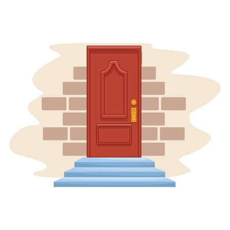 icona porta cartone animato isolato in un muro di mattoni sfondo illustrazione vettoriale graphic design