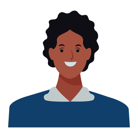 man afro avatar cartoon character portrait profile style