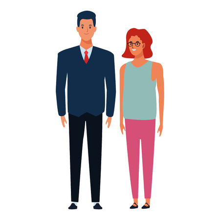 couple avatar cartoon character  with fashion casual clothes vector illustration graphic design Stock Illustratie