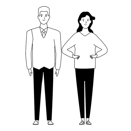 couple avatar cartoon character with casual fashion clothes and business suit vector illustration graphic design