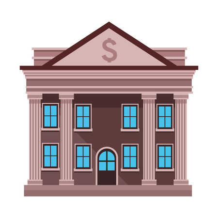 bank building icon cartoon isolated vector illustration graphic design