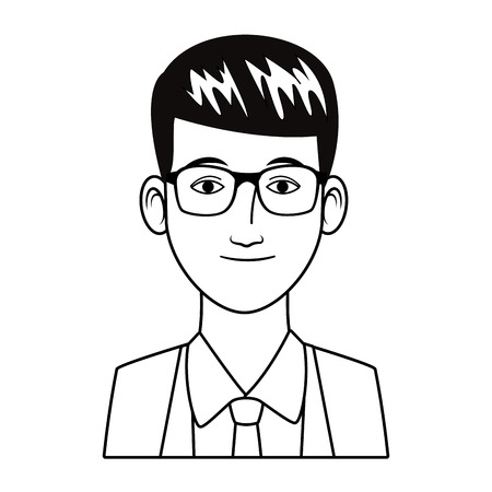 businessman avatar cartoon character portrait black and white vector illustration graphic design