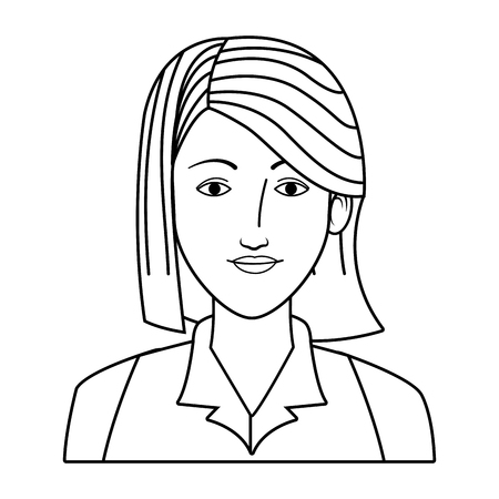 businesswoman avatar cartoon character portrait black and white vector illustration graphic design