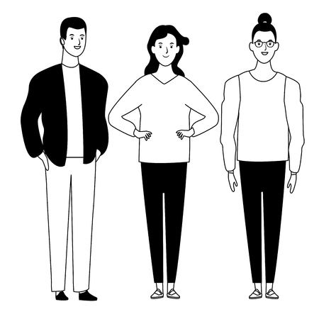 group of people avatar cartoon character  with fashion casual clothes vector illustration graphic design