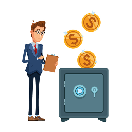 businessman with checklist next to some coins falling down to a safe box vector illustration graphic design