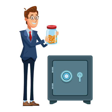businessman holding a glass jar with coins inside and a safe box vector illustration graphic design