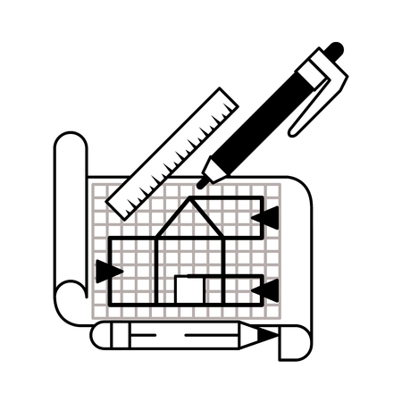 architecture work elements with blueprint plane flat paper cartoon vector illustration graphic design in black and white Illustration