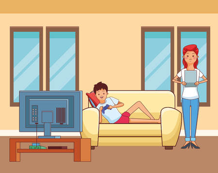 Millennial people gaming party guy sitting on couch playing holding controller tablet user with tv screen vector illustration graphic design Ilustração