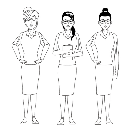 businesswomen avatar cartoon character wearing sueter and skirt black and white vector illustration graphic design