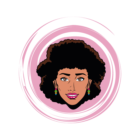 woman head avatar cartoon character face in a round icon with pop art background vector illustration graphic design