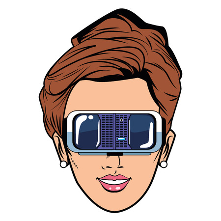 woman head with virtual reality headset face avatar cartoon character vector illustration graphic design
