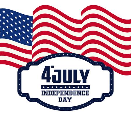 USA independence day july fourth celebration card with patriotic emblem on red blue and white colors vector illustration graphic design Ilustração
